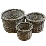 Jvl Superior S/3 Round Willow Baskets (16-332)