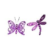 Gisela Graham Purple Butterfly & Dragonfly Clip Dec (17058)