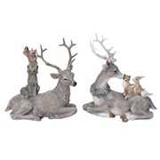 Gisela Graham Resin Reclining Stag With Animals (20493)