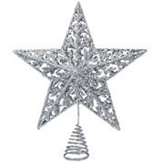 Gisela Graham Silver Glitter 5 Point Star Topper (20590)