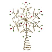 Gisela Graham Gold Wire Tree Top Snowflake Red/green Beads (20882)