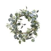 Eucalyptus Wreath With Flower Green/white 45cm (220410)