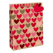 Kraft Hearts Gift Bag Bottle (28506-4C)