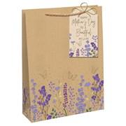 Brown Kraft Floral Gift Bag Large (28524-2C)