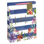 Navy Stripe Floral Gift Bag Medium (28536-3C)