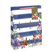 Navy Stripe Floral Gift Bag Medium (28536-3CC)