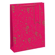 Gold Floral Pink Gift Bag Large (28947-2C)