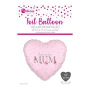 Love You Mum Foil Heart Balloon (30192-M2C)