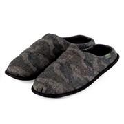 Totes Isotoner Woven Camo Herringbone Mule Slipper Black Large (3228FBLKL)
