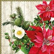 Ambiente Napkin Poinsettia On Wood (33310540)