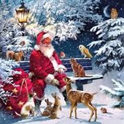 Ambiente Napkin Santa On Bench (33313410)