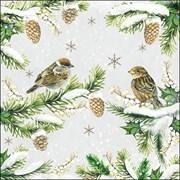 Ambiente Napkin Sparrows In Snow (33314740)