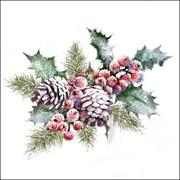 Ambiente Napkin Holly & Berries 33cm (33315570)