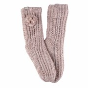Totes Isotoner Luxury Sparkle Slipper Sox With Pom Pink (3406FPNK)