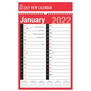 Red And Black A3 Easy View Calendar (3806)