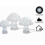 Led 3xacrylic Mushrooms Outdoor Asst 37cm (499516)