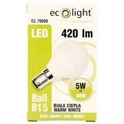 Ecolight 5w Led Frosted B15 3000k Golfball Bulb (EC79143)