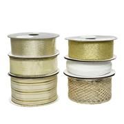 Ribbon 6 Asstd Gold 500cm (448646)