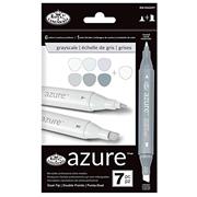 Royal Brush Azure Marker Set Grayscale 7pce (RM-904GRY)