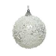 Foam Bauble w Glitter Beads Winter White 8cm (45.6054)