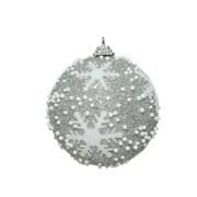 Foam Bauble Glitter Snowflake Silver 8cm (456149)