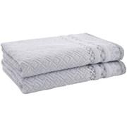 Catherine Lansfield Malawa Geo Bands Bath Towel Silver Pair (TW/41498/W/BT2/SI)