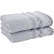 Catherine Lansfield Malawa Geo Bands Hand Towel Silver Pair (TW/41498/W/HT2/SI)