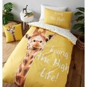 Giraffe Duvet Set Yellow Single (BD/47392/W/SQS/YE)
