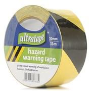 Ultratape 50mm Black & Yellow Hazard Stripe Pvc Tape 33m (06025033BY)