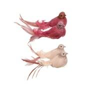Glitter Feather Bird On Clip Pink (521099)