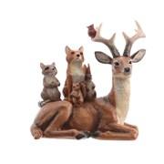 Kaemingk Reindeer W Animals On Back 15.5cm (535047)