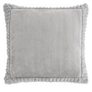 Velvet & Faux Fur Cushion Silver 55cm (DS/54492/W/CC55/SI)