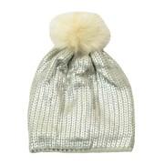 Metallic Knit Hat/pompom (60801)