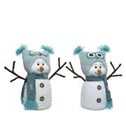 Snowman With Owl Hat 23cm (611016)