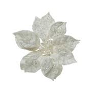 Pes Poinsettia On Clip w Glitter White 16cm (629430)