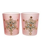 Glass Tealight Holder Glitter Snowflake 6.5cm (645475)