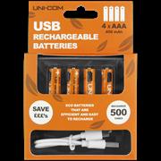 Uni-com Aaa Usb Rechargeable Batteries 4pk (66798)