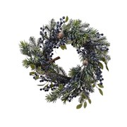 Frosted Deco Wreath With Blue Berries 40cm (687108)