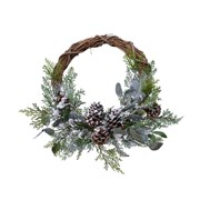 Frosted Deco Wreath Willow Pinecones 40cm (687161)