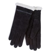 Totes Isotoner Suede Glove With Sherpa Trim Black Small (69161BLKS)