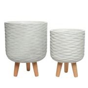Fibre Clay Planter Set Of 2 Off White (802559)