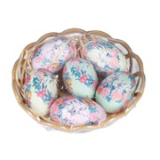 Gisela Graham Pm Foral Design Eggs In Basket 6s (81557)