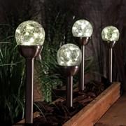Warm White Crackle Ball Stake Lights X 4 27cm (9019022)