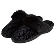 Totes Isotoner Velour Heeled Mule Black Leopard Size 5 (95517BLP5)