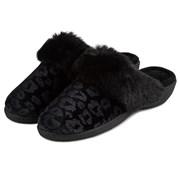 Totes Isotoner Velour Heeled Mule Black Leopard Size 6 (95517BLP6)