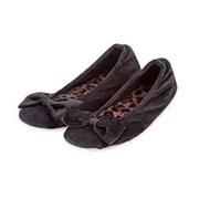 Totes Isotoner Totes Velour Animal Ballet Black Small (97622BABS)