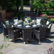Amelia 10 Seat Dining Set - 1.8m Round Table - Brown