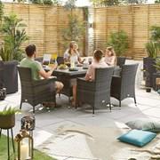 Amelia 6 Seat Dining Set - 1.5m x 1m Rectangular Table - Brown