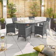 Amelia 6 Seat Dining Set with Fire Pit - 1.8m x 1.2m Oval Table - Grey