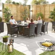 Amelia 8 Seat Dining Set - 2m x 1m Rectangular Table - Brown